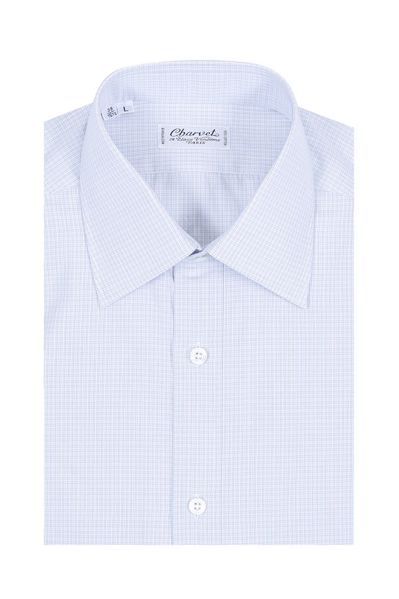 Charvet Light Aqua Mini Check Dress Shirt