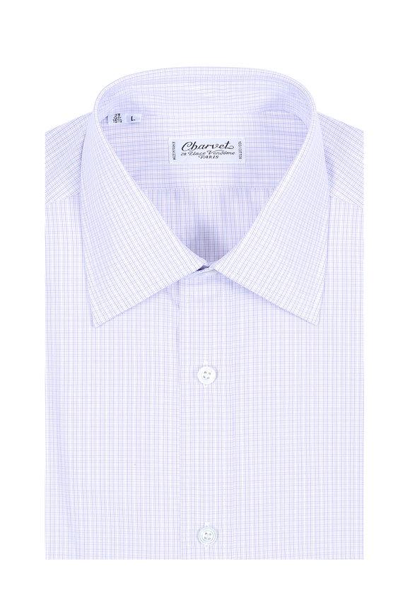 Charvet Purple Mini Check Dress Shirt