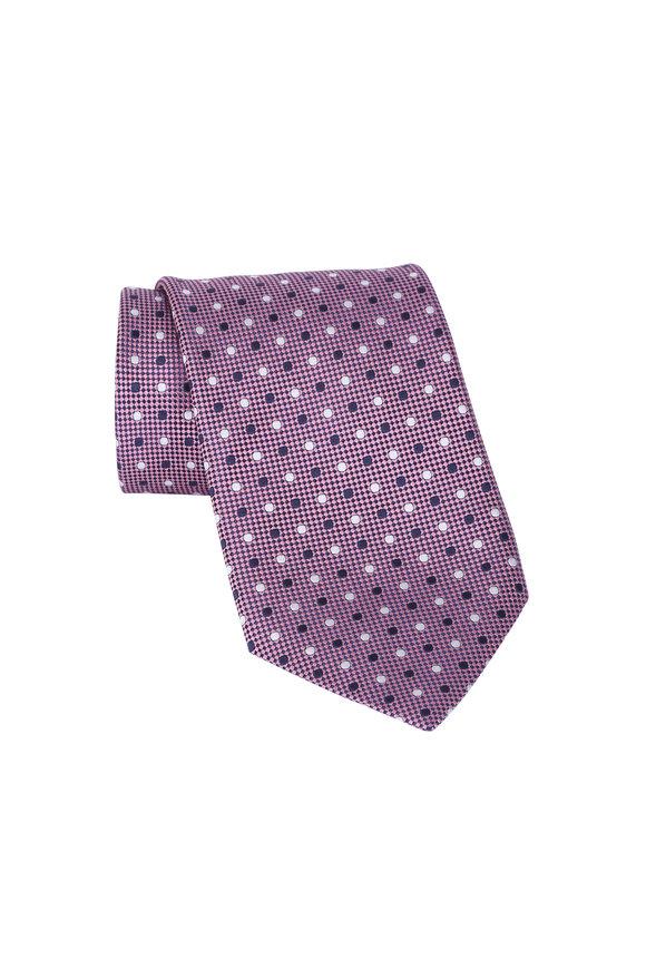 Ermenegildo Zegna Pink Dot Silk Necktie
