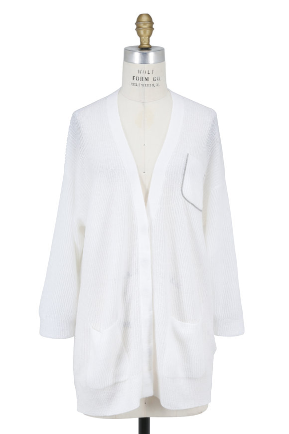 Brunello Cucinelli White Mohair Monili Pocket Button Cardigan
