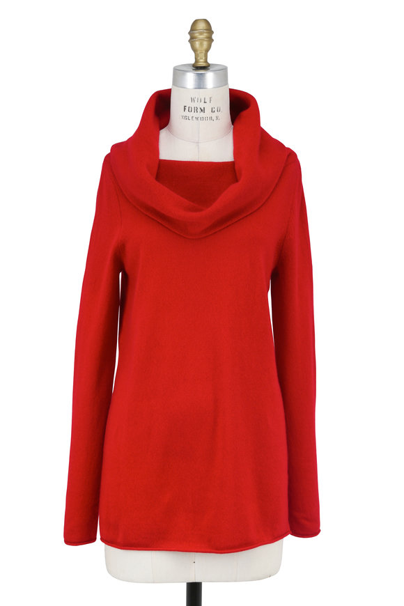 Kinross Crimson Cashmere Cowl Neck Sweater