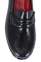 Pas de Rouge - Black Leather Lug Sole Penny Loafer