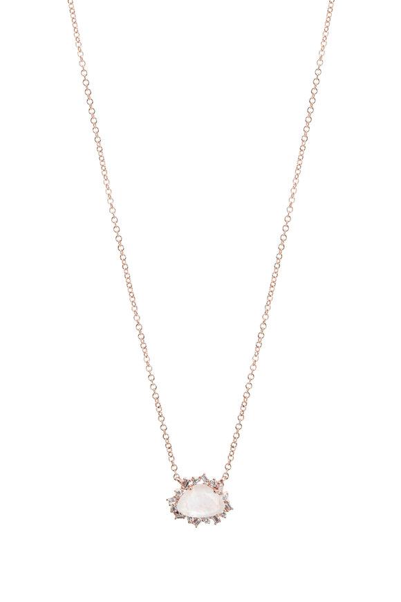 Kai Linz Rose Gold Moonstone & Diamond Necklace