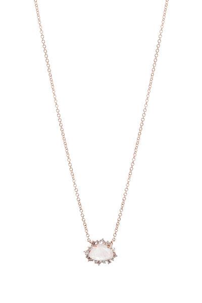 Kai Linz - Rose Gold Moonstone & Diamond Necklace