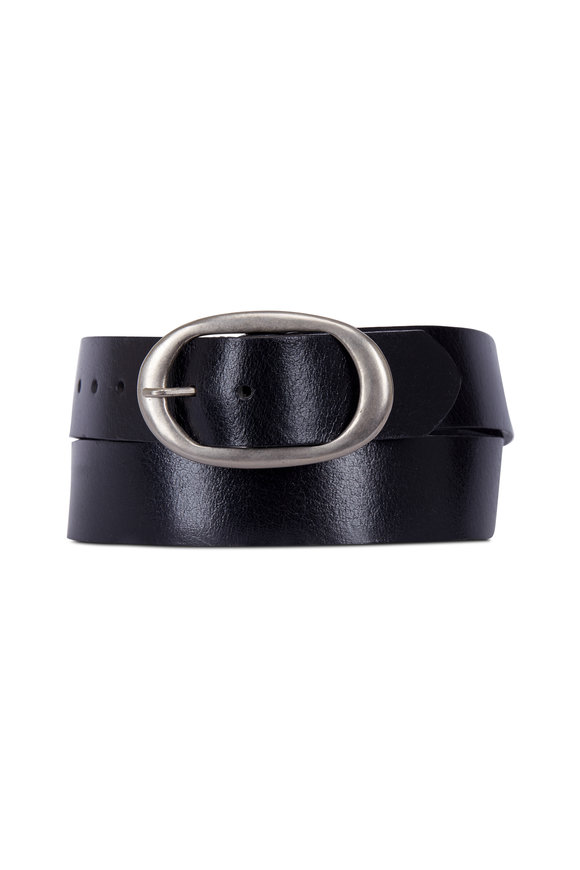 Kim White Classic Black Leather Silver Oval Buckle Belt