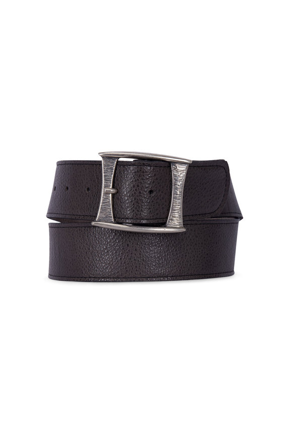 Kim White Mod Dark Grey Antique Nickel Buckle Belt