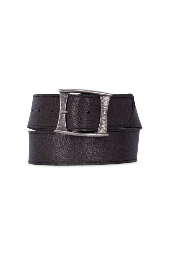 Kim White Mod Dark Grey Antique Nickel Buckle Belt