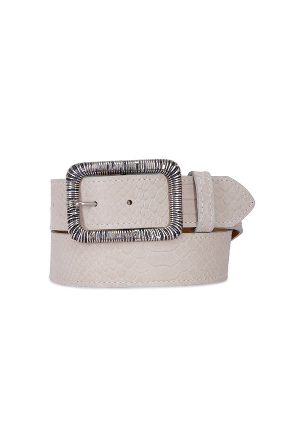 Kim White Off-White Embossed Snake Wire Wrap Buckle Belt