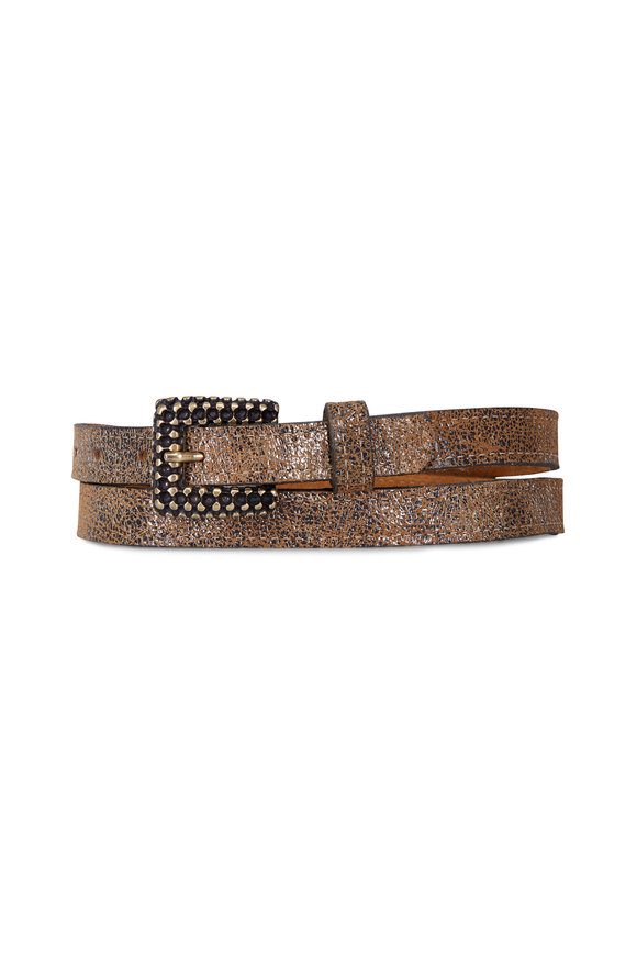 Kim White Antique Gold Faceted Skinny Belt