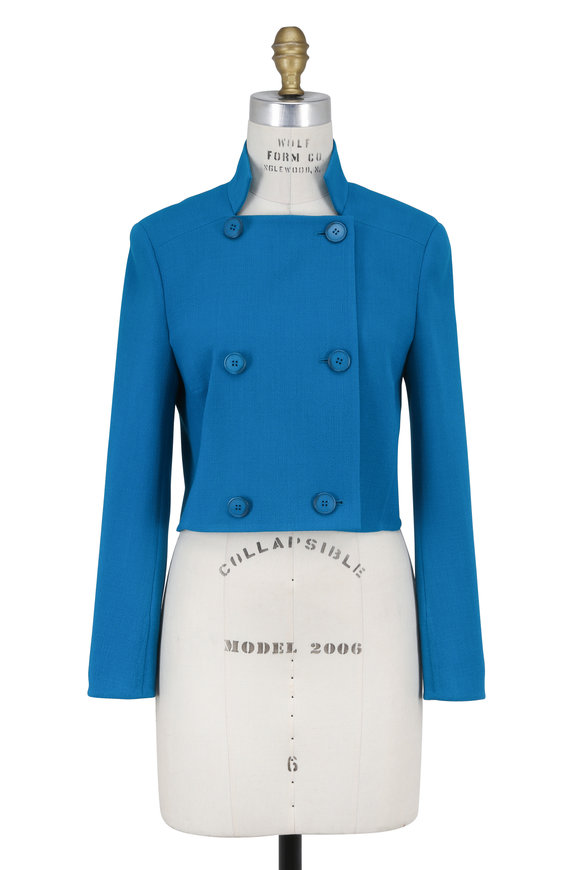 Akris Whirlaway Blue Double-Faced Short Jacket