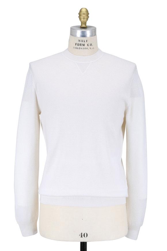 Ermenegildo Zegna Ivory Cashmere & Silk Crewneck Sweater
