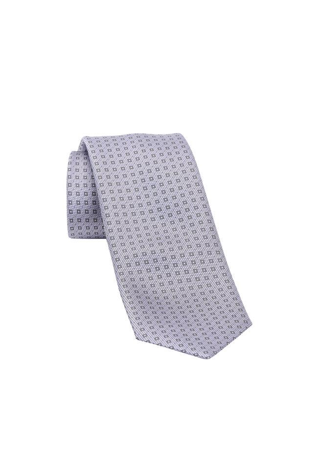 Lavender Geometric Print Silk Necktie