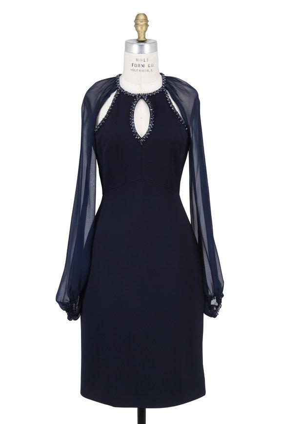 Jenny Packham Navy Blue Embellished Cut-Out Cocktail Dress