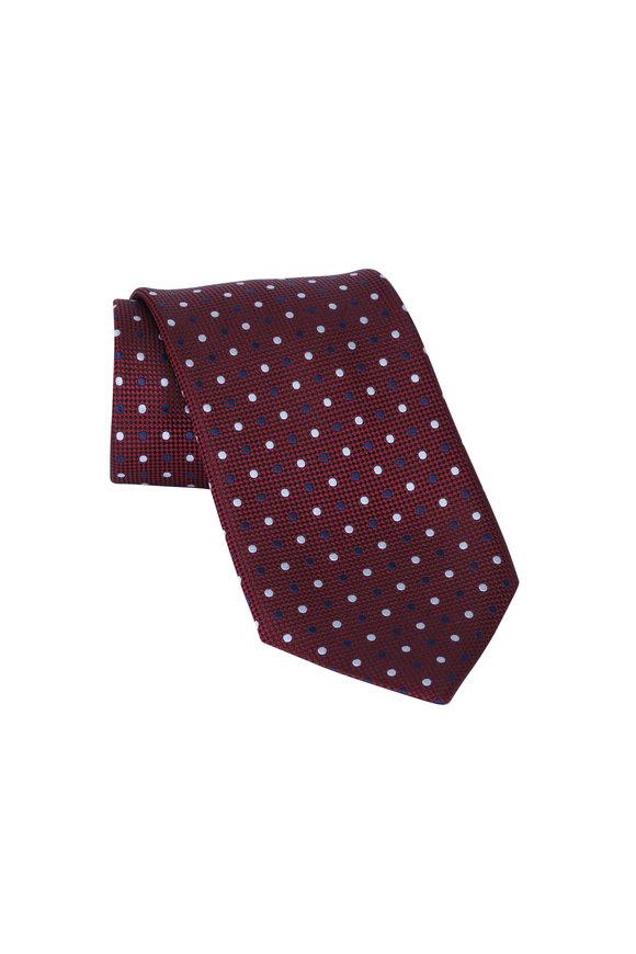 Ermenegildo Zegna Dark Red Dot Silk Necktie