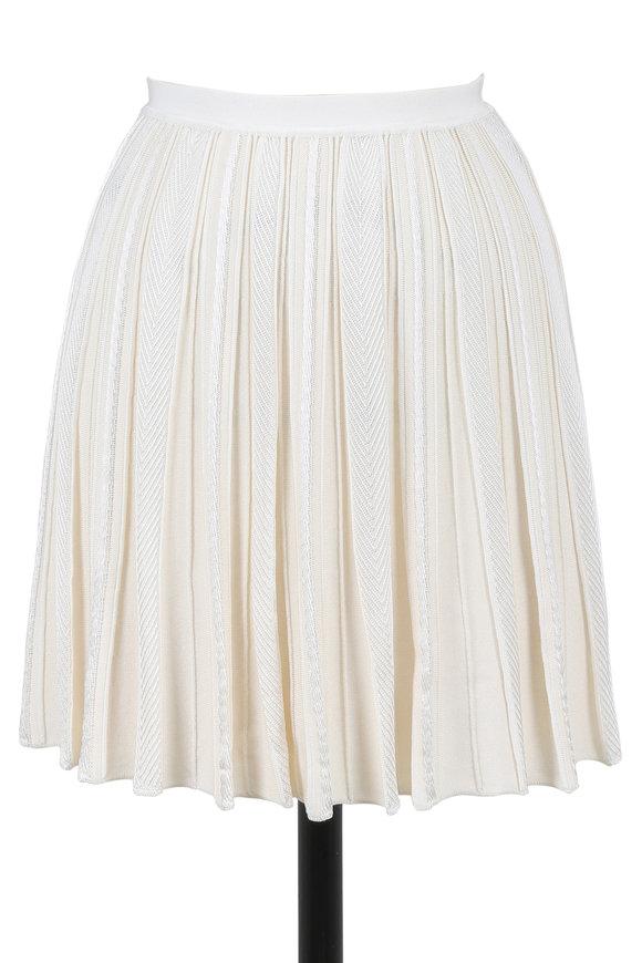 Roberto Cavalli Ivory Pleated Mini Skirt