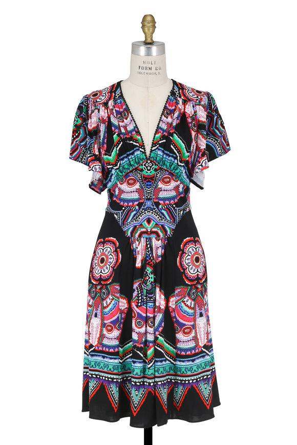 Roberto Cavalli Black Multicolor Printed Flutter Sleeve Dress