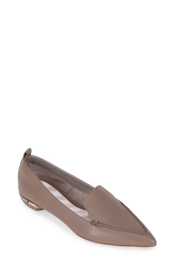 Nicholas Kirkwood Beya Taupe Grained Leather Pointed Flat