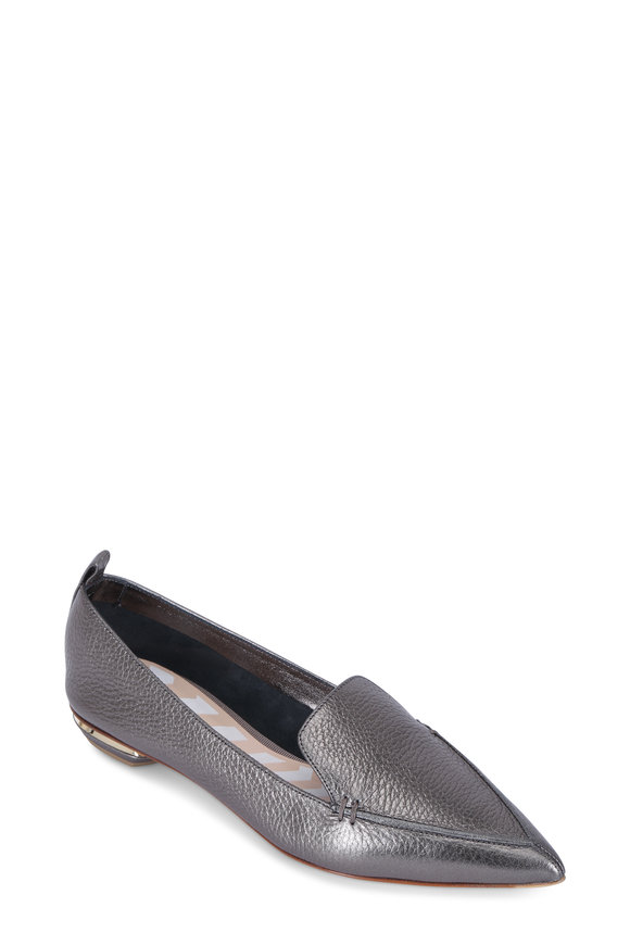 Nicholas Kirkwood Beya Metallic Pewter Leather Pointed Flat