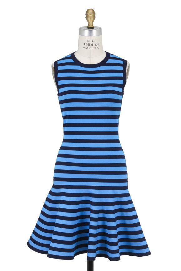 Michael Kors Collection Blue Striped Ruffle Hem Sleeveless Dress