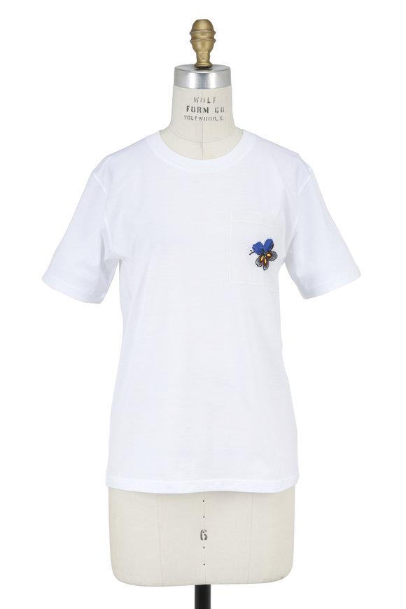 Victoria Beckham White Embroidered Pocket T-Shirt