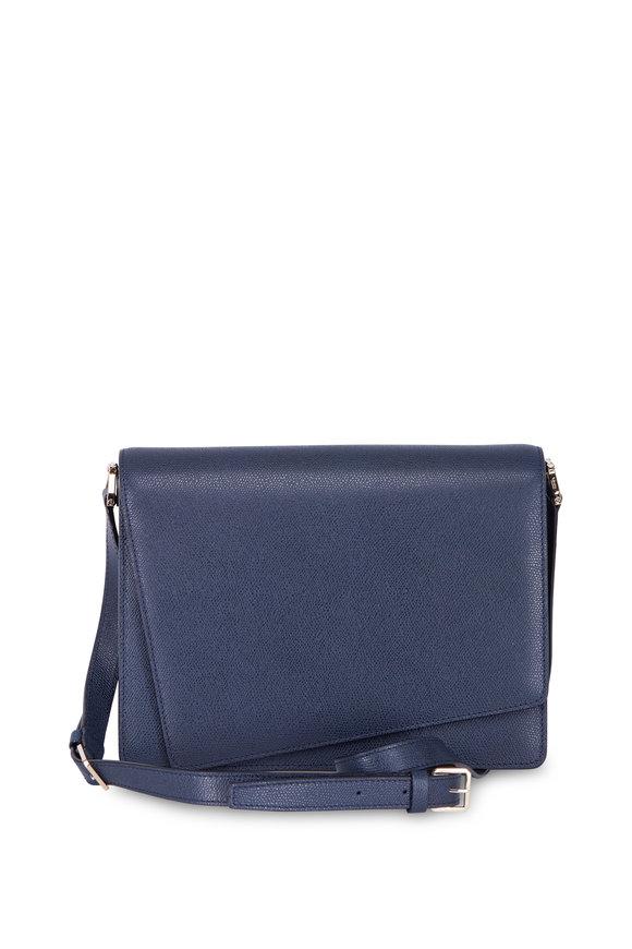 Valextra Twist Blue Leather Large Shoulder Bag