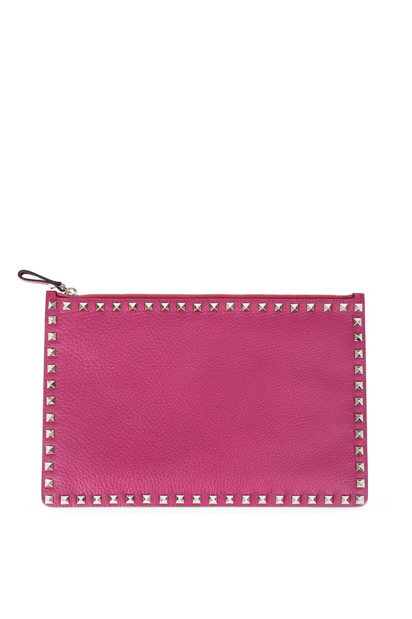Valentino Rockstud Magenta Leather Zip Pouch
