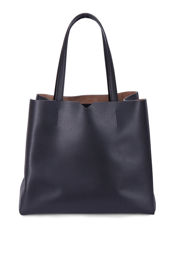 Valextra Black Soft Leather Large Tote
