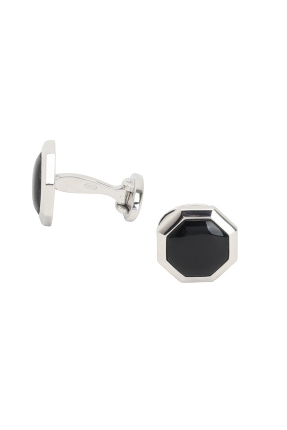 Jan Leslie Sterling Silver Onxy Cuff Links