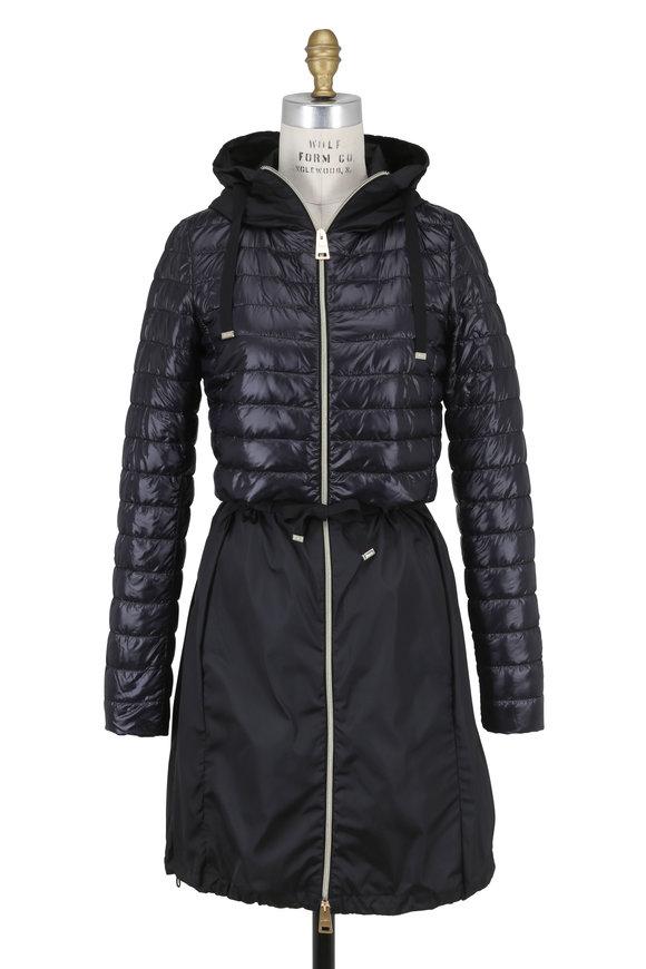 Herno Black Puffer & Taffeta Hooded Long Coat