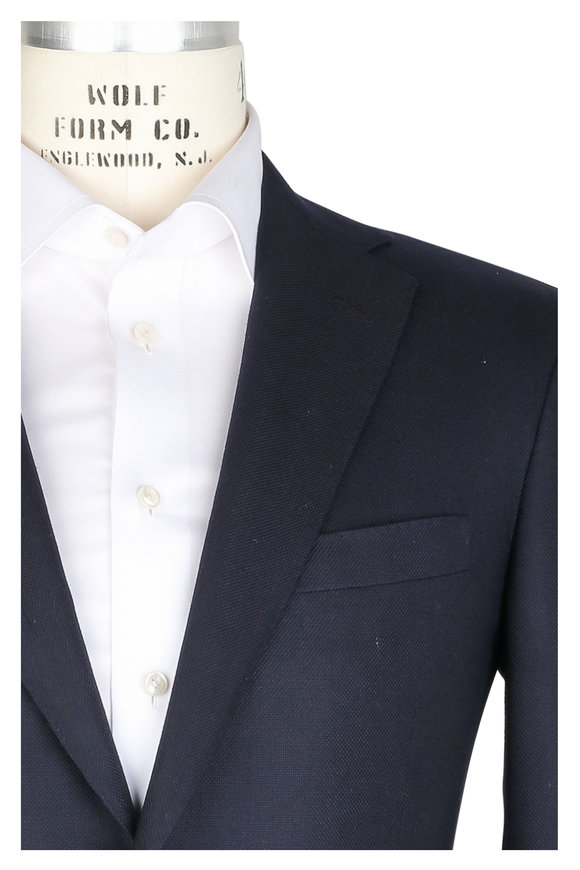 Oxxford Clothes Midnight Blue Cashmere Hopsack Sportcoat