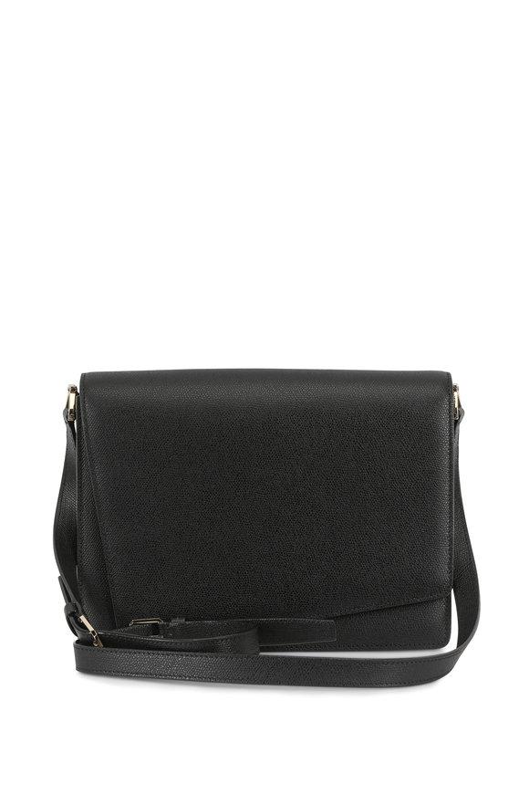 Valextra Twist Black Saffiano Large Shoulder Bag