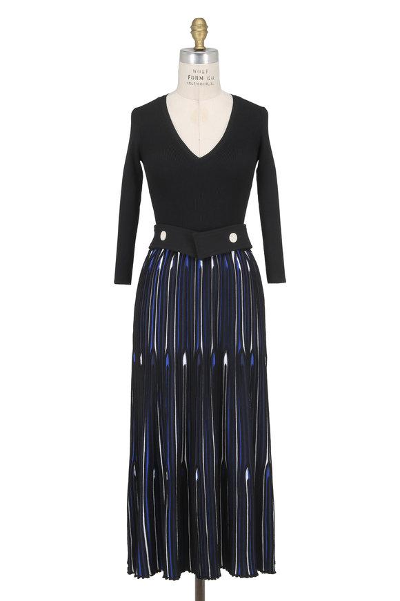 Derek Lam Blue Knit Long Sleeve Pleated Skirt Midi Dress