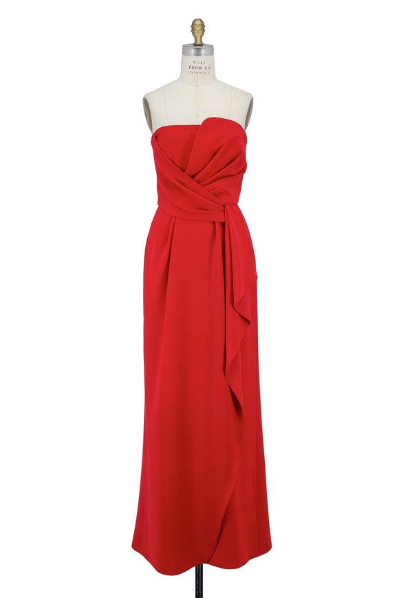 Armani Collezioni Red Cady Strapless Gown