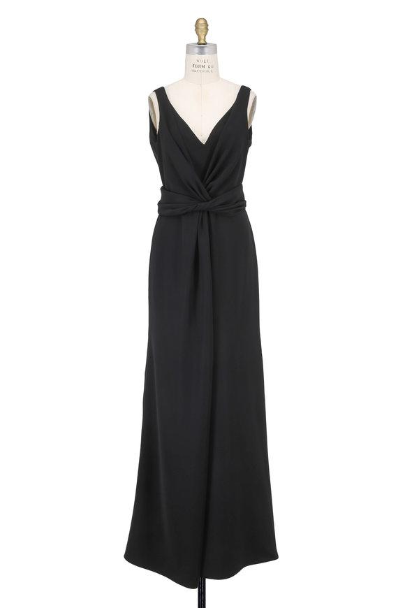 Armani Collezioni Black Cady Deep V-Neck Sleeveless Gown