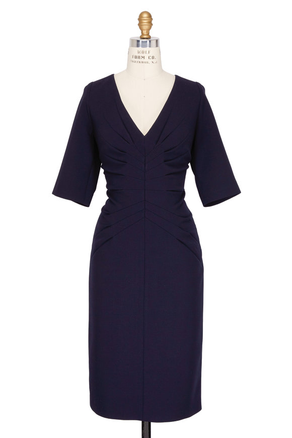 Kiton Navy Stretch Wool Elbow Sleeve Dress