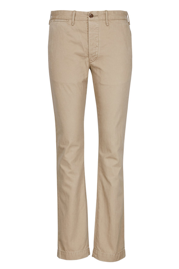 RRL Tan Cotton Twill Flat Front Pant