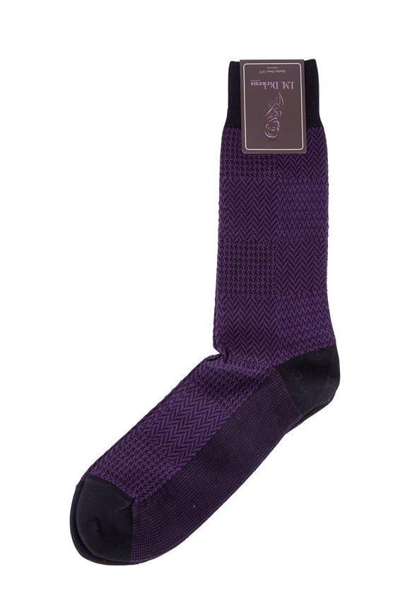 British Apparel Purple Neat Check Pima Cotton Blend Socks