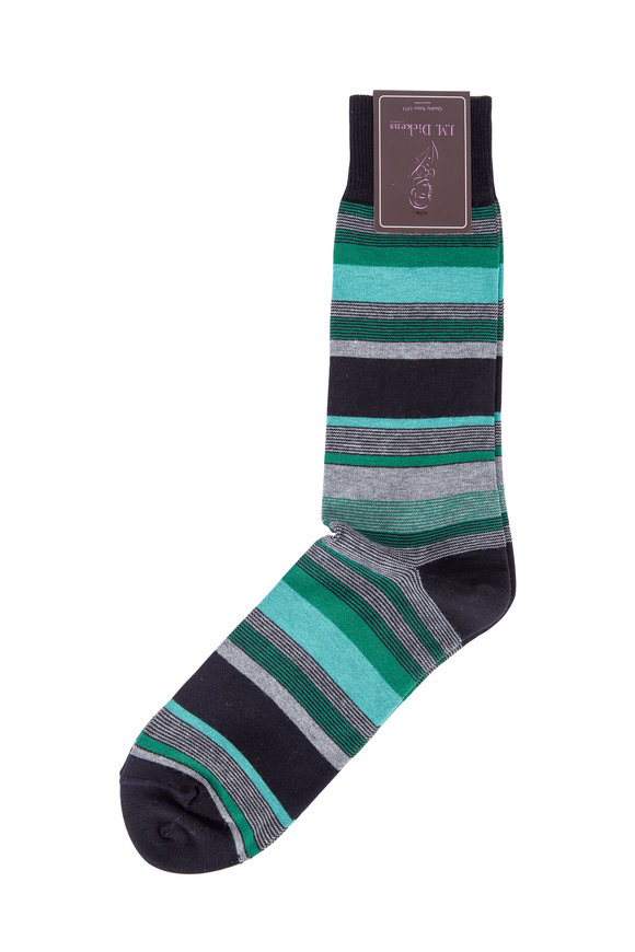 British Apparel Black & Green Stripe Pima Cotton Blend Socks