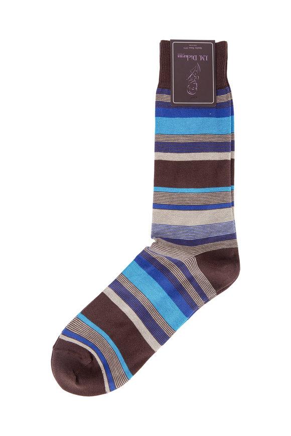 British Apparel Brown & Blue Stripe Pima Cotton Blend Socks