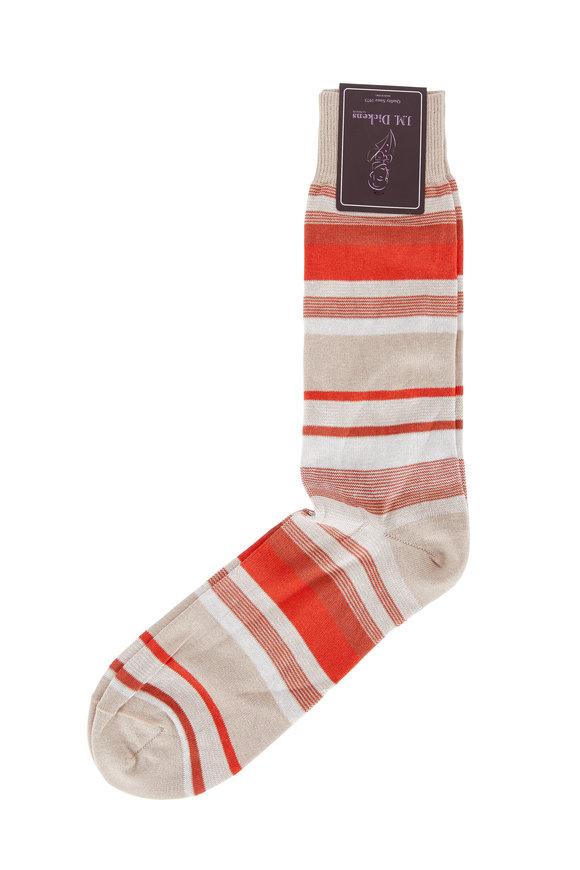 British Apparel Khaki & Orange Stripe Pima Cotton Blend Socks