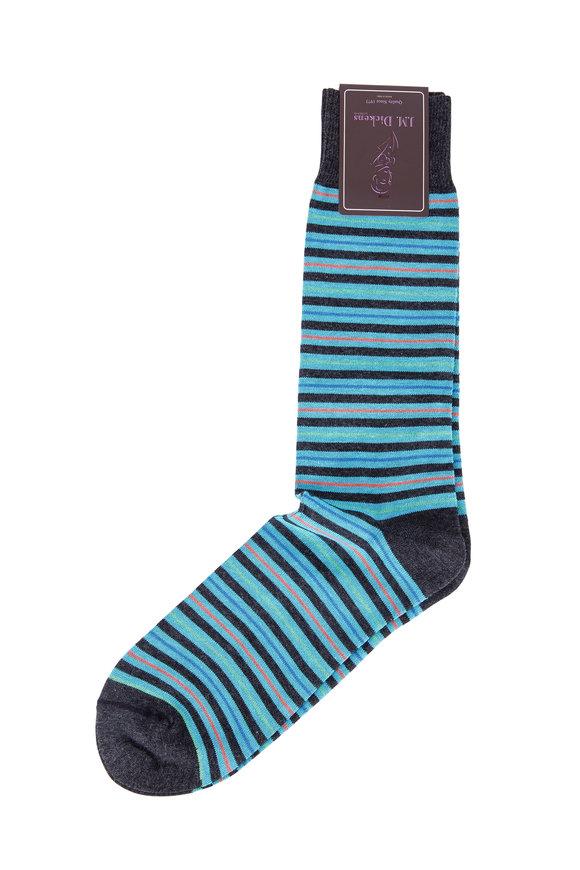British Apparel Charcoal & Teal Stripe Pima Cotton Blend Socks