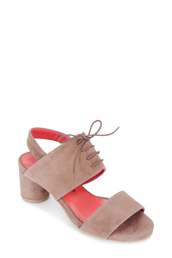 Pas de Rouge Chantel Taupe Suede Tie-Up Sandal, 60mm