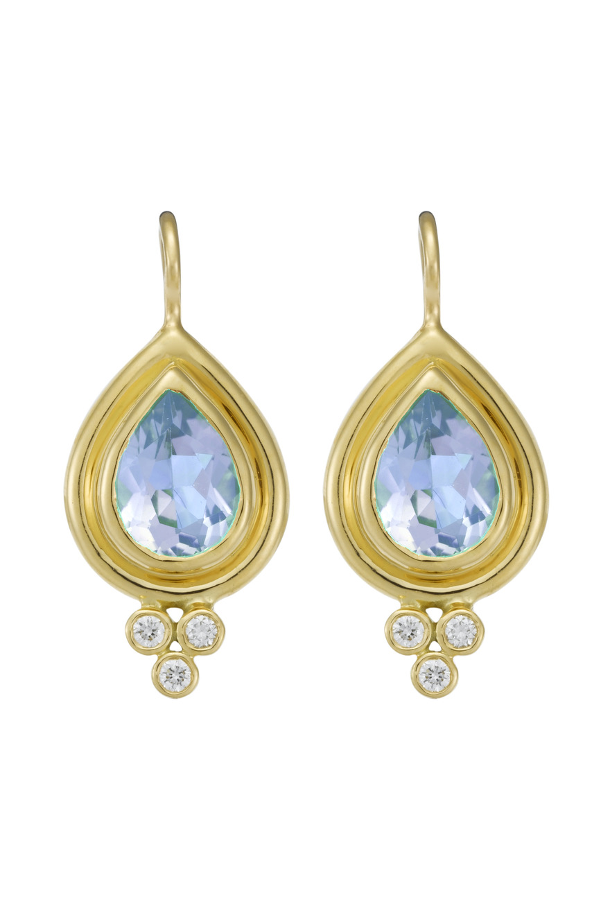 Aqua Diamond Faceted Earrings