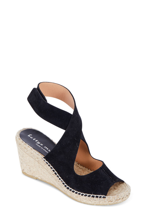 Bettye Muller Mobile Black Suede Wedge Espadrille, 75mm