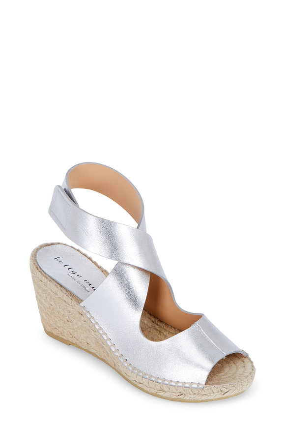 Bettye Muller Mobile Silver Leather Wedge Espadrille, 75mm