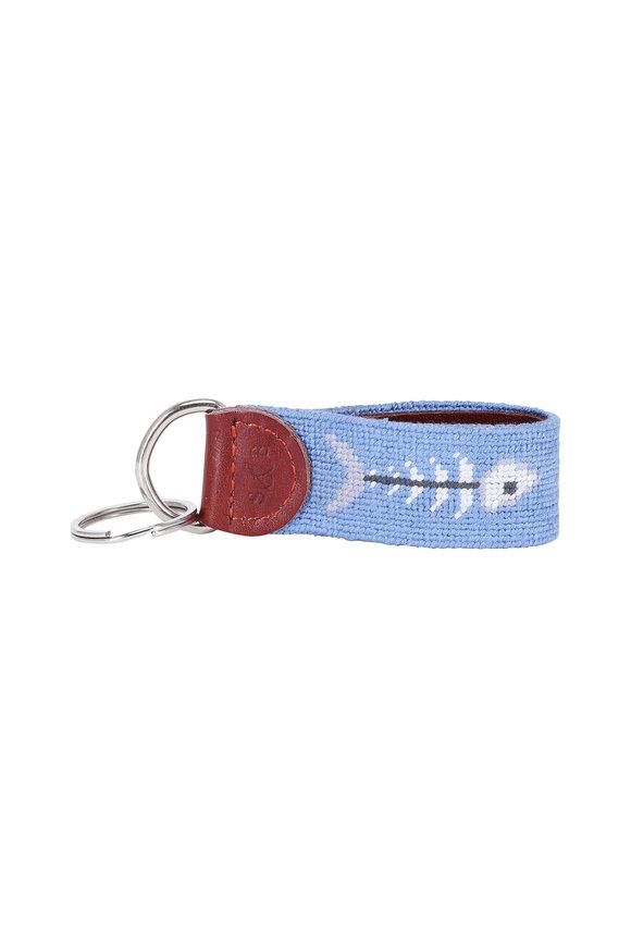 Smathers & Branson Light Blue Bonefish Needlepoint Key Fob