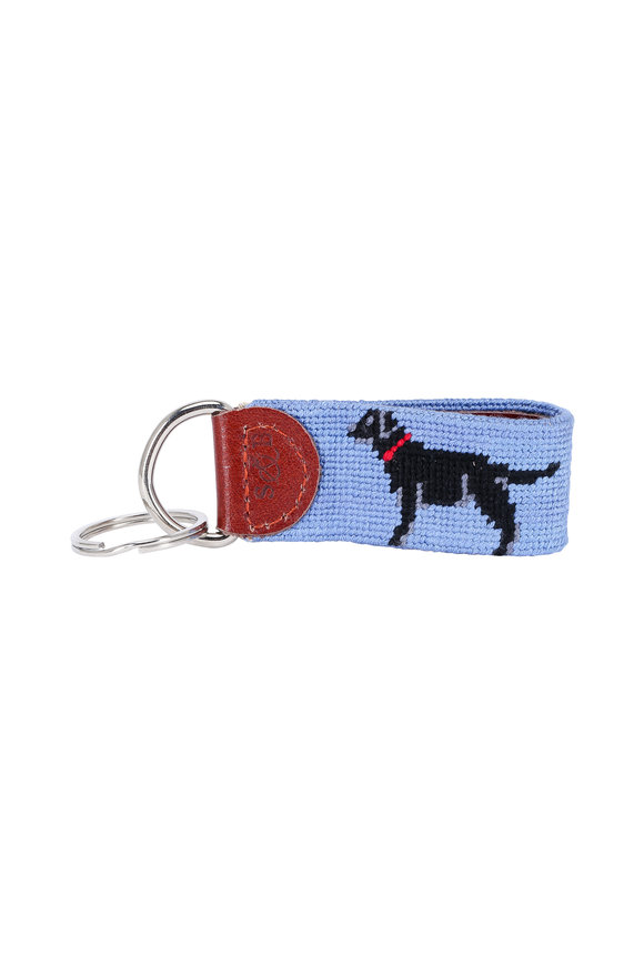Smathers & Branson Light Blue Black Lab Needlepoint Key Fob