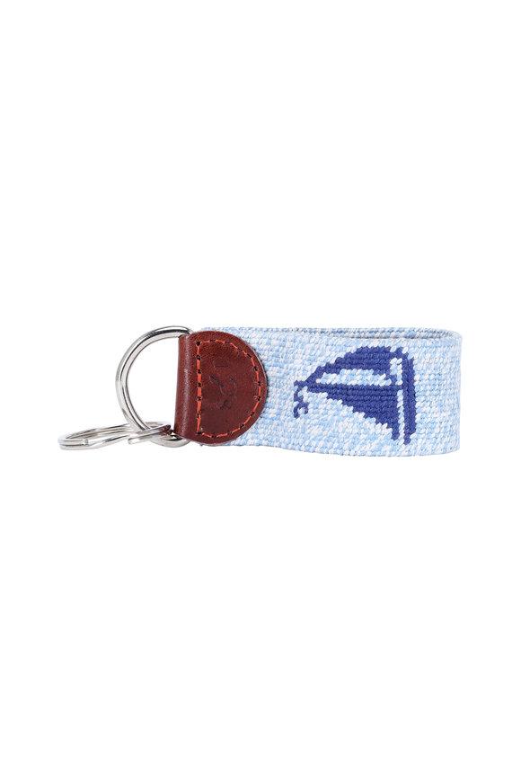 Smathers & Branson Light Blue Sailboat Needlepoint Key Fob