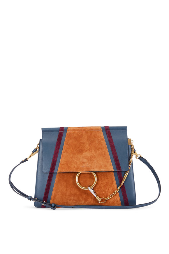 Chloé Faye Silver Blue Leather & Patchwork Suede Bag