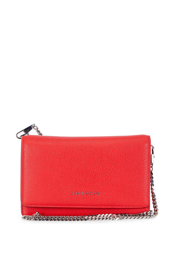 Givenchy Pandora Red Grained Leather Chain Wallet